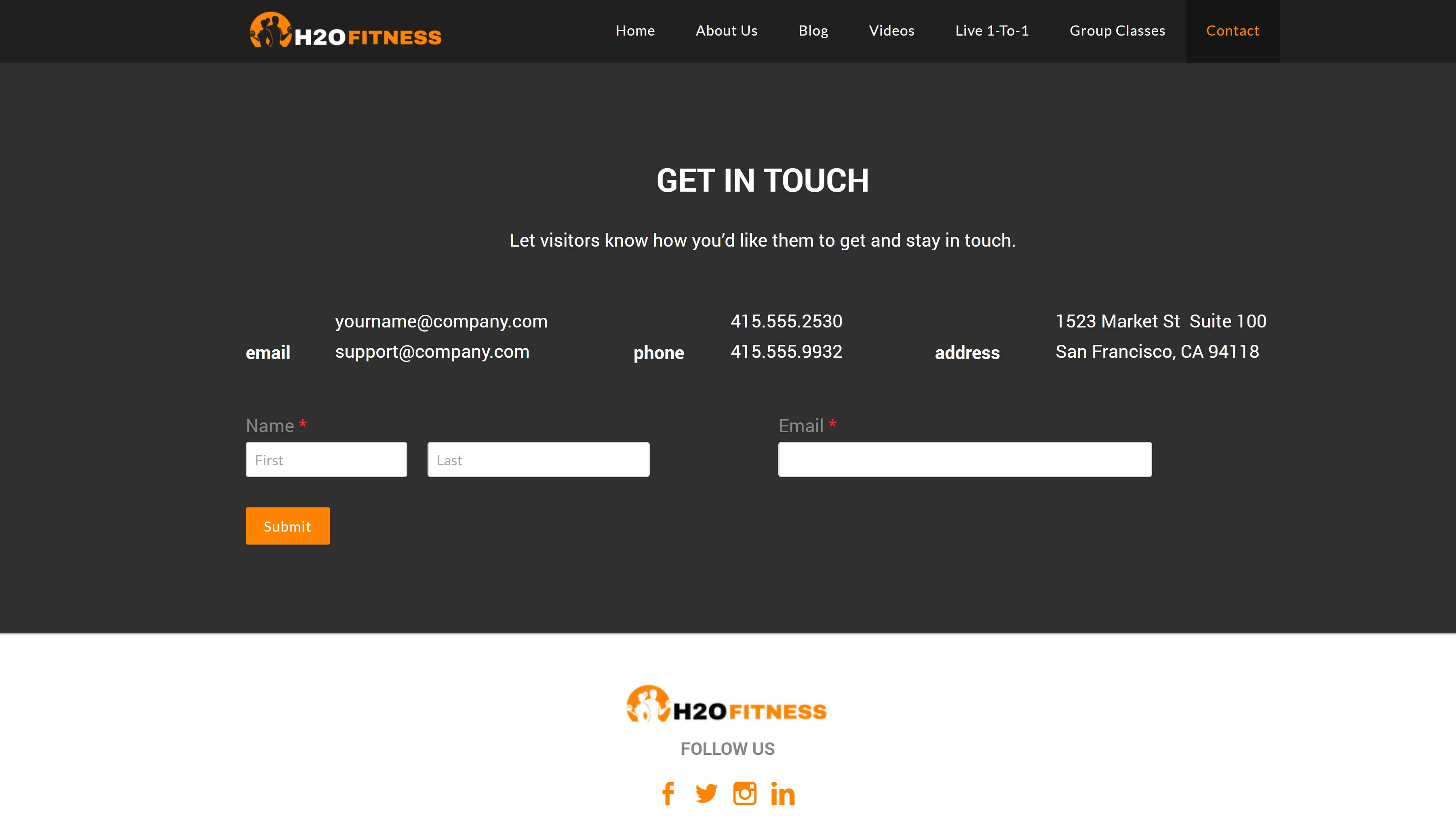 All-In-One Website To Sell Your Fitness Classes Online - H2O Fitness Contact Page Example