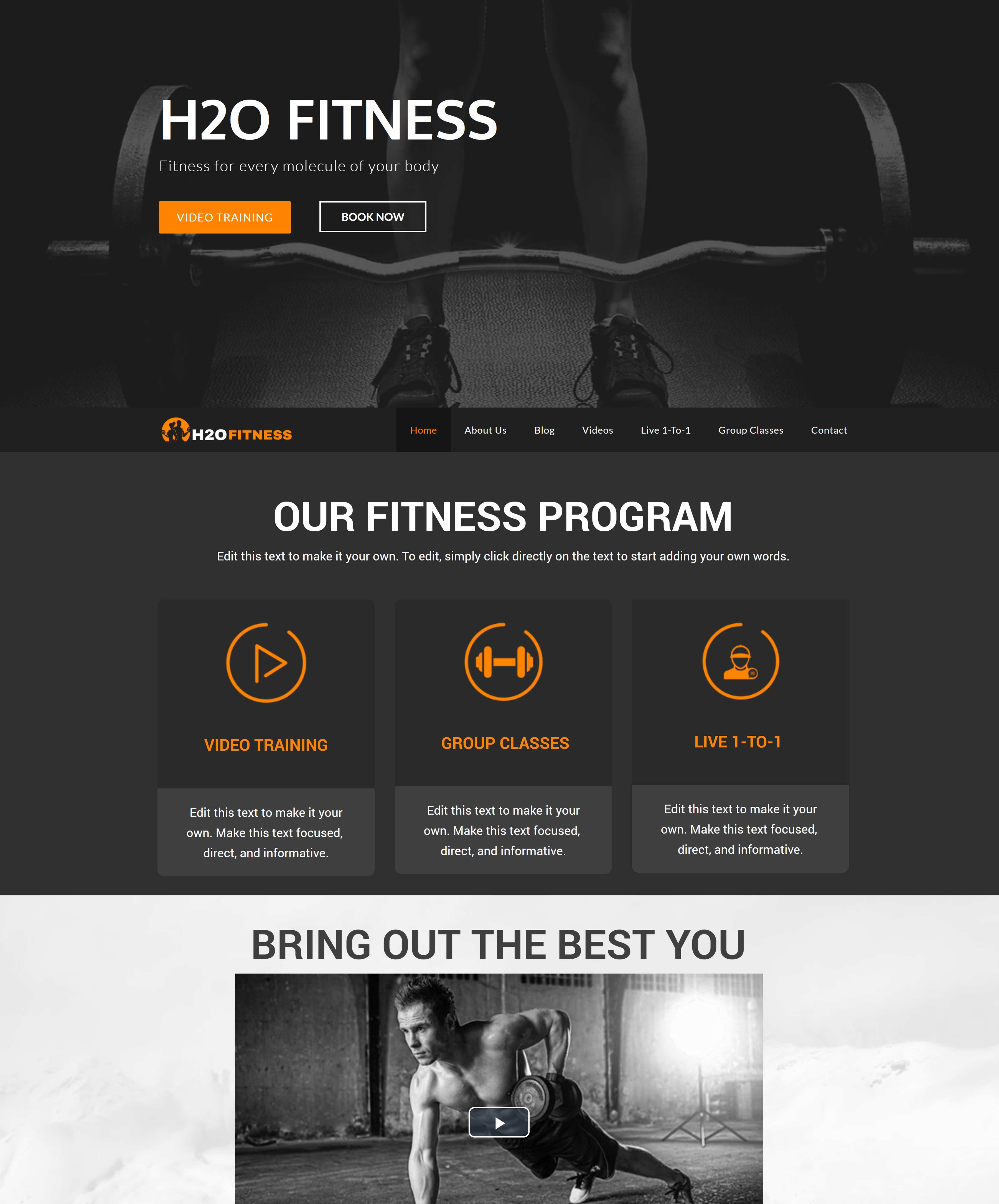 All-In-One Website To Sell Your Fitness Classes Online - H2O Fitness Home Page Example