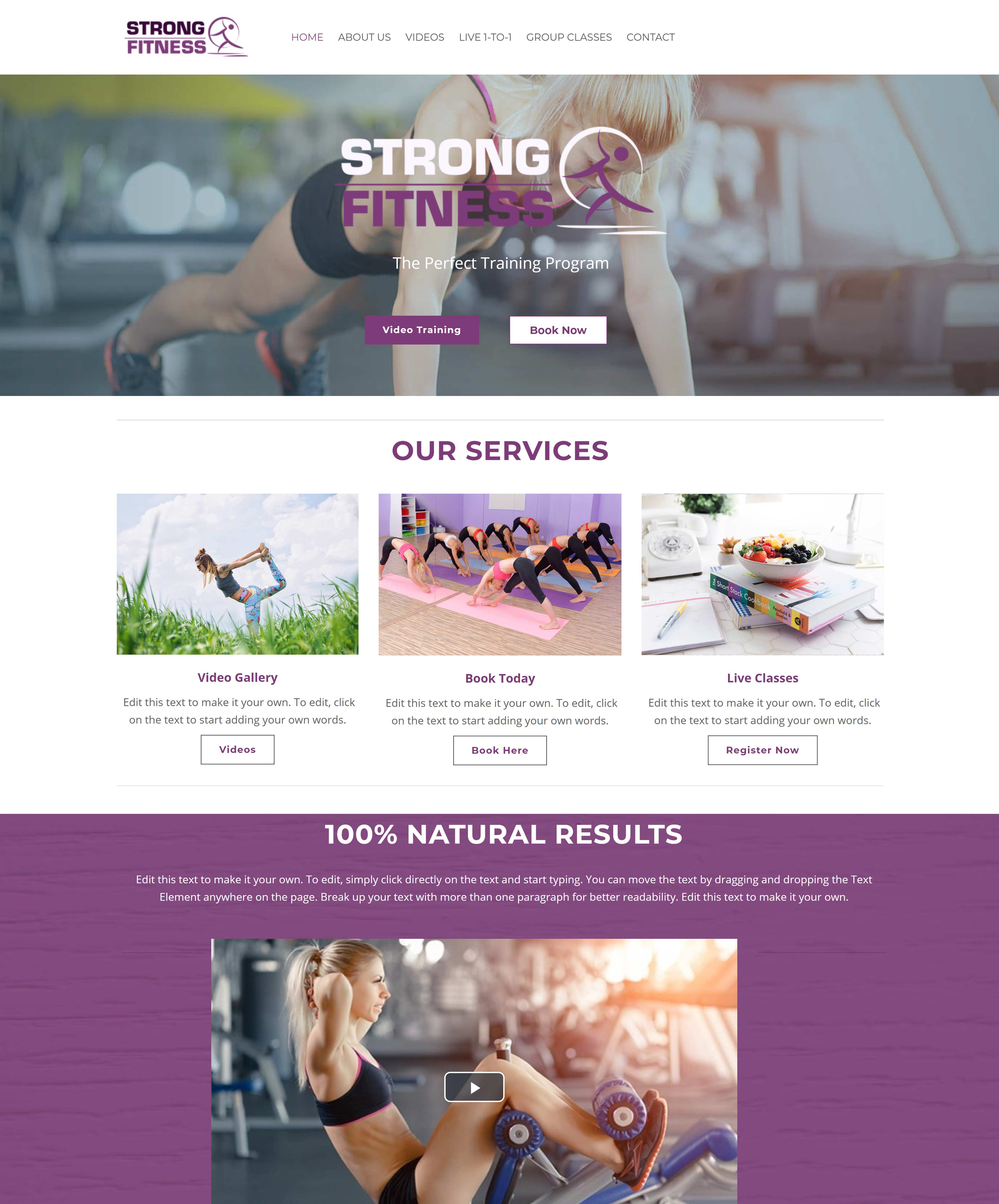 All-In-One Online Fitness Studio Website - Strong Fitness Home Page Example