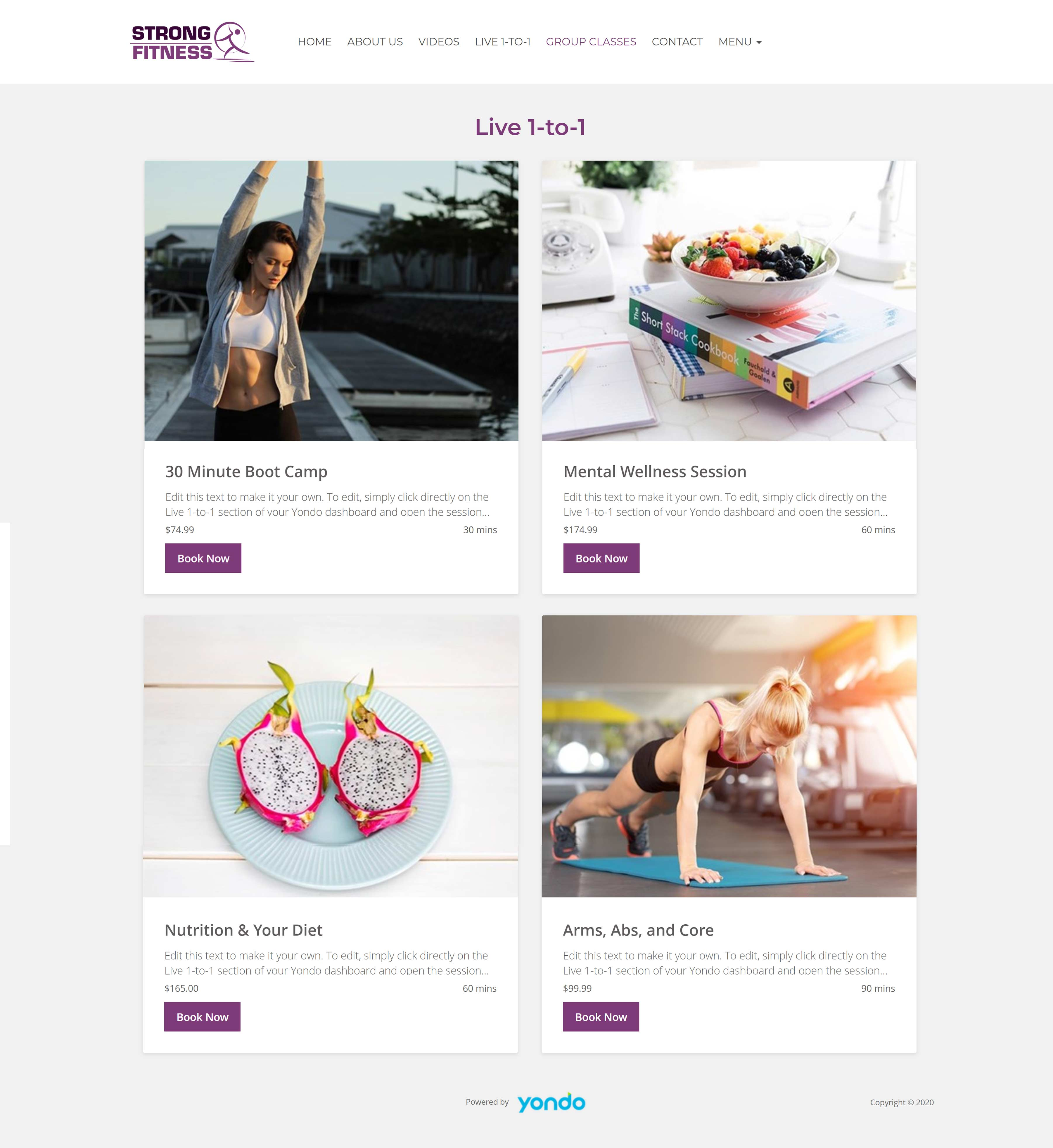 All-In-One Online Fitness Studio Website - Strong Fitness Live 1-To-1 Sessions Page Example