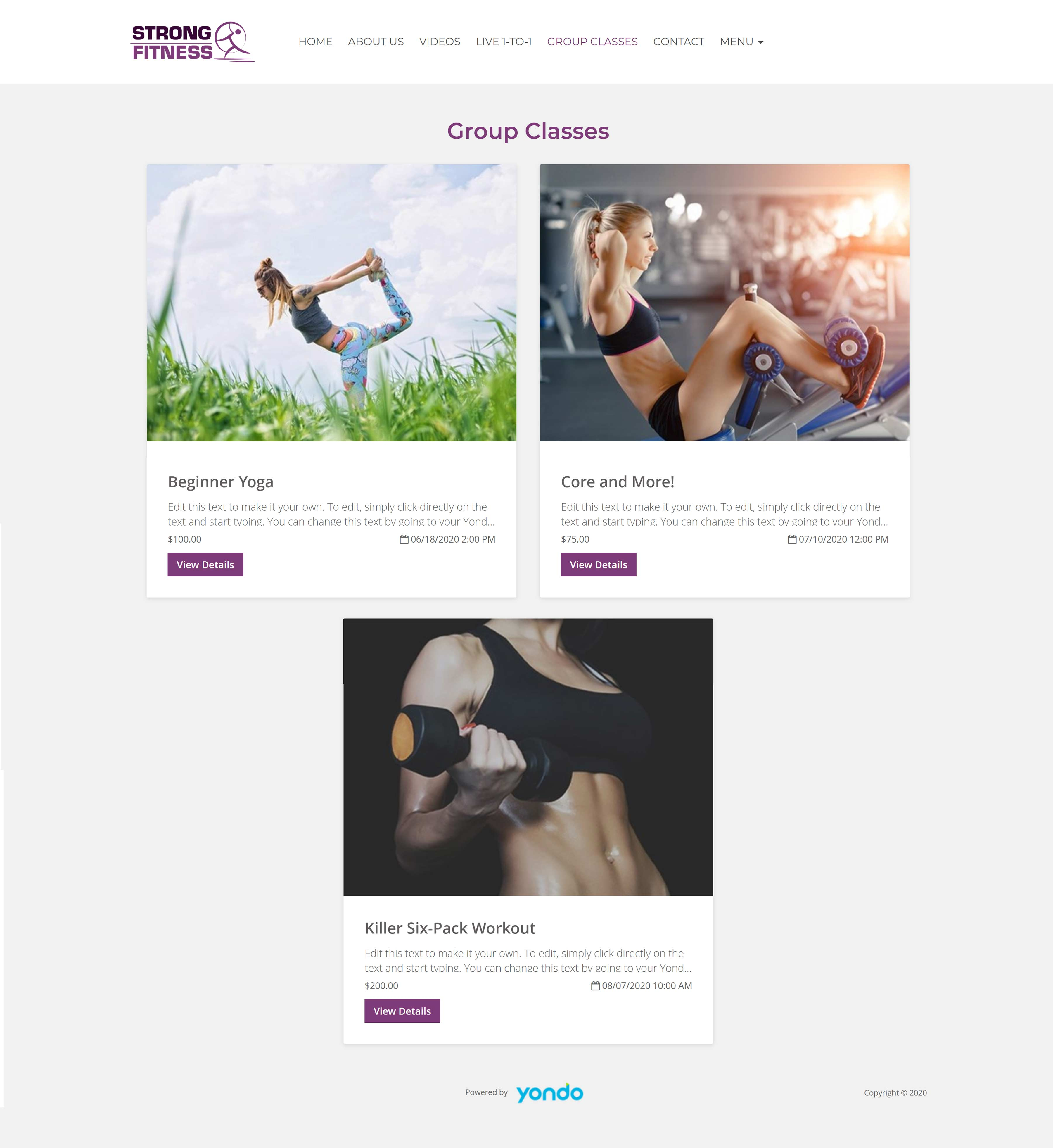 All-In-One Online Fitness Studio Website - Strong Fitness Webinars Page Example