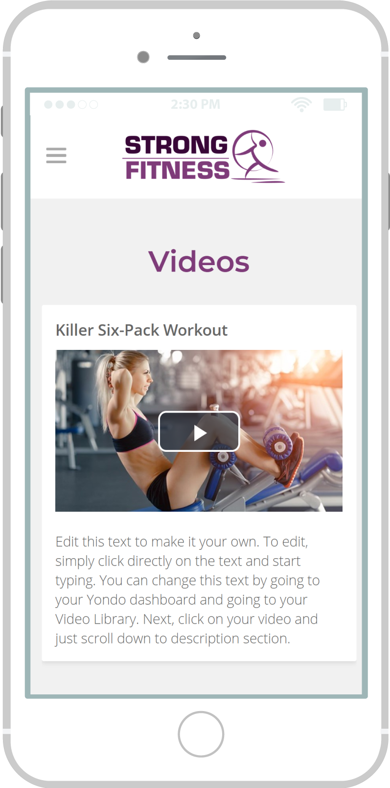 All-In-One Online Fitness Studio Website - Strong Fitness Mobile view 2 Example