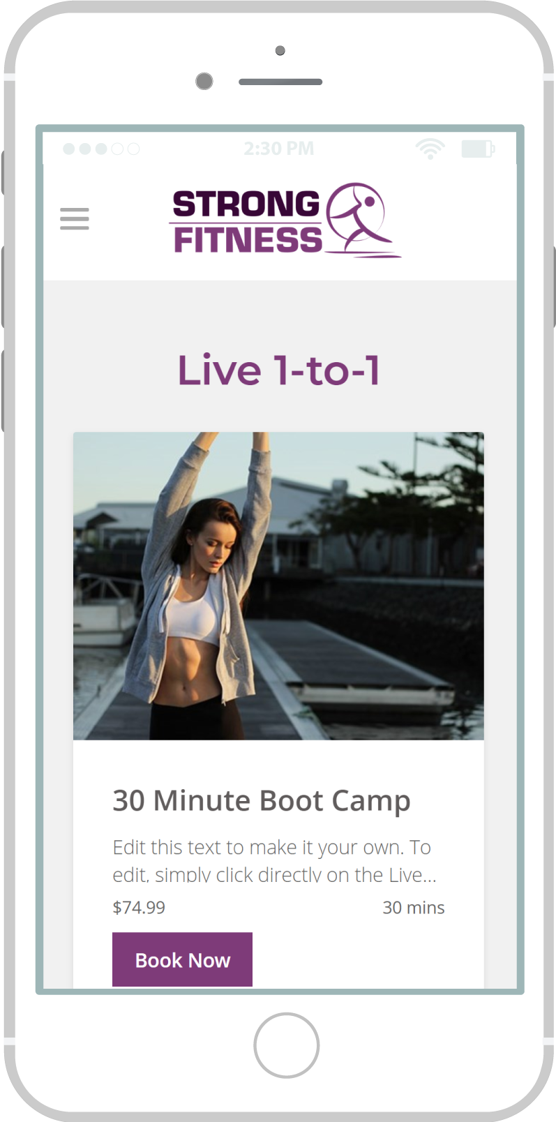 All-In-One Online Fitness Studio Website - Strong Fitness Mobile view 3 Example