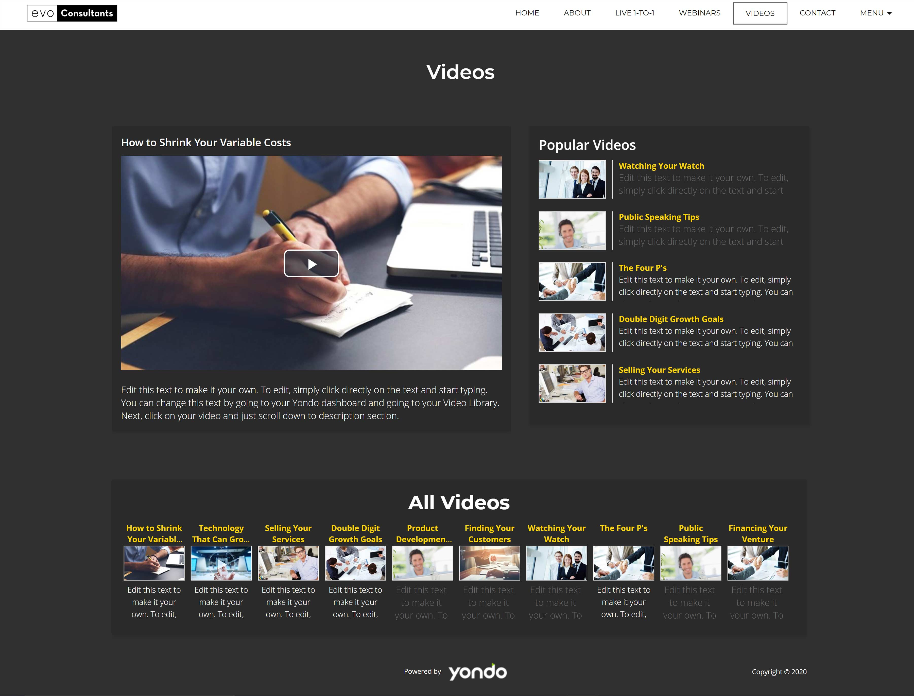 All-In-One Online Consulting Website - Evo Consultants Video On Demand Page Example