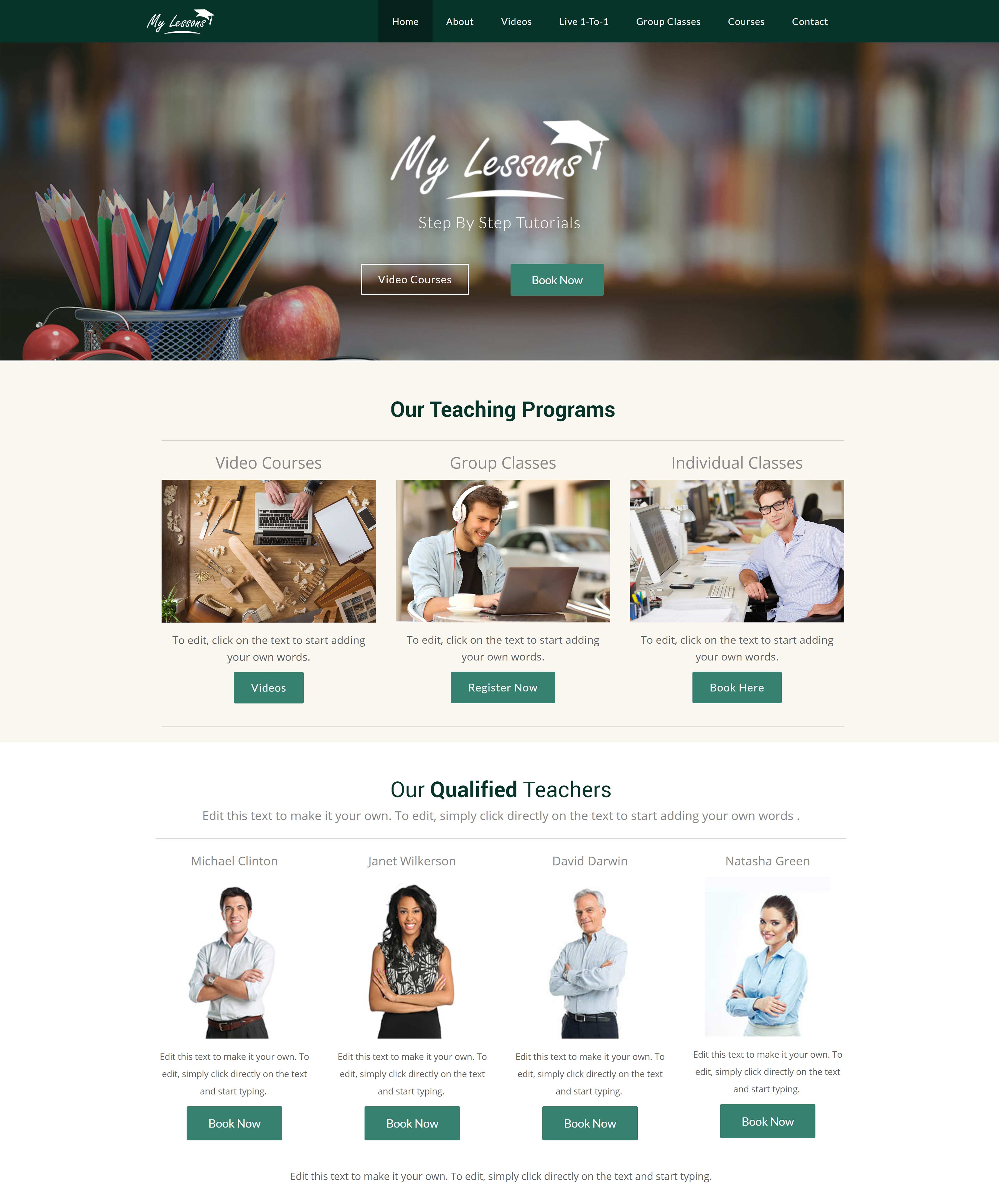 All-In-One Website To Sell Your Online Classes - My Lessons Home Page Example