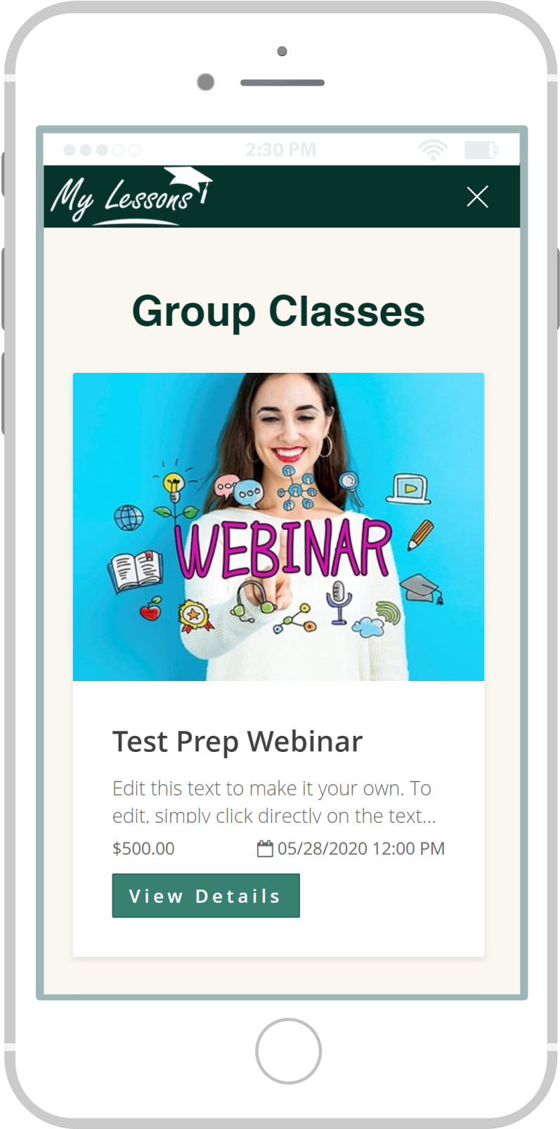 All-In-One Website To Sell Your Online Classes - My Lessons Mobile View 3 Example