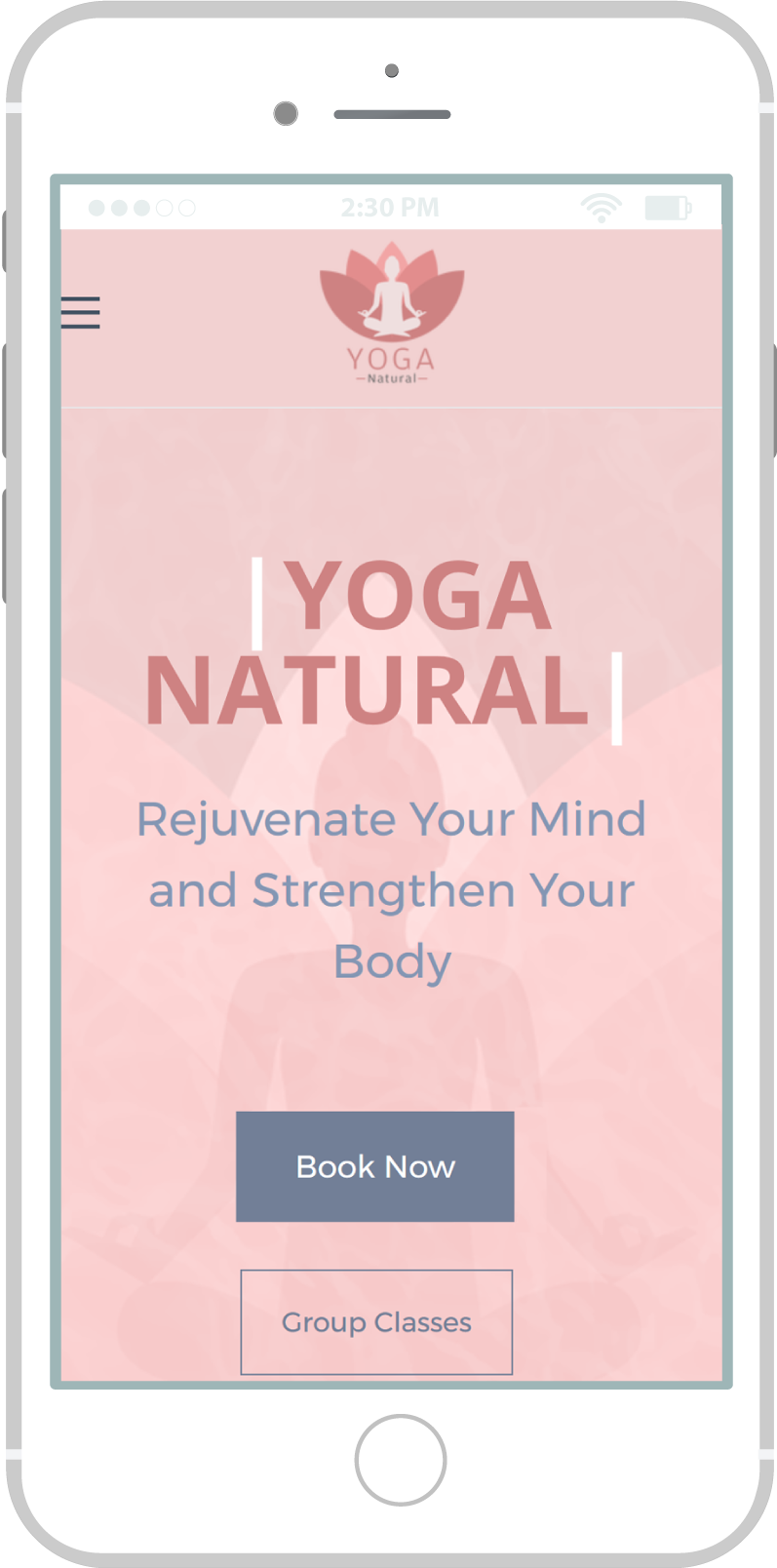 All-In-One Website To Sell Your Yoga Classes Online - Yoga Natural Mobile View 1 Example