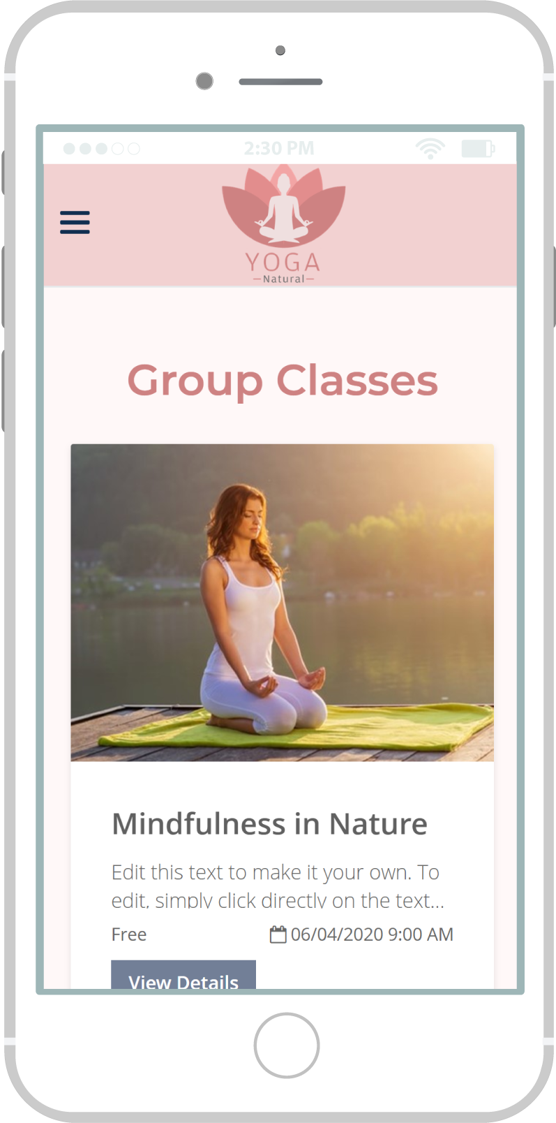 All-In-One Website To Sell Your Yoga Classes Online - Yoga Natural Mobile View 3 Example