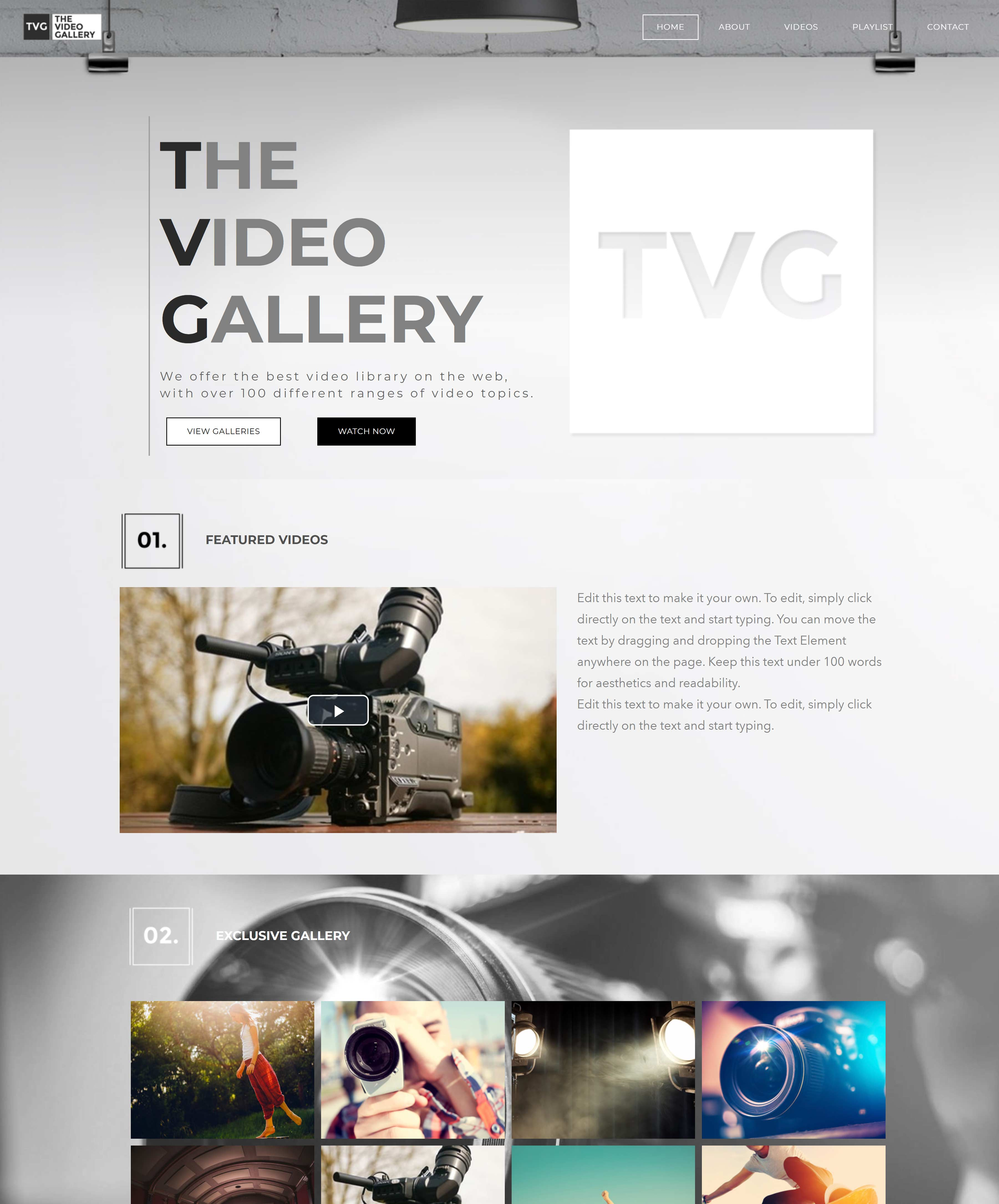 All-In-One Online Video Sales Website - The Video Gallery Home Page Example