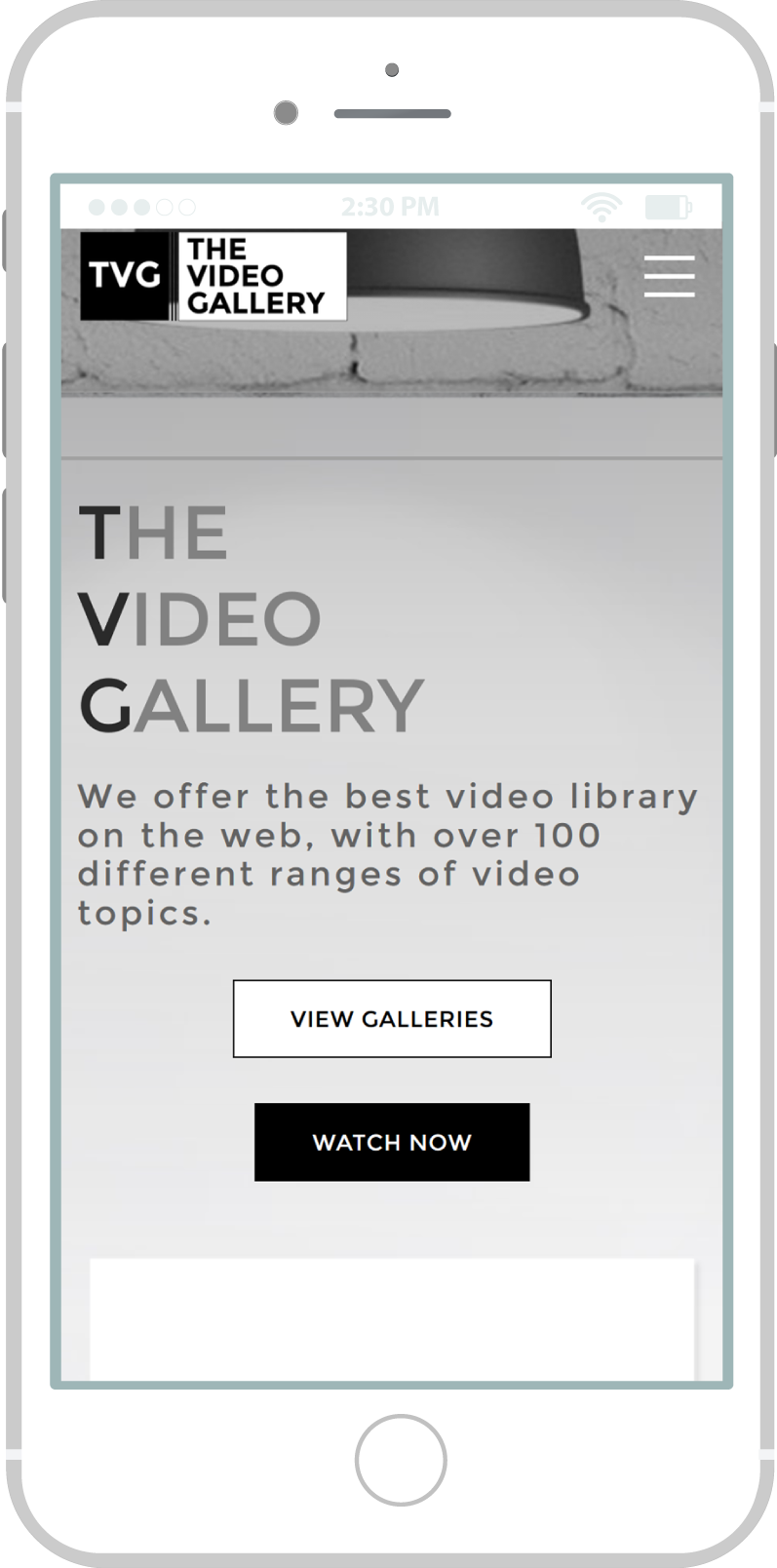 All-In-One Online Video Sales Website - The Video Gallery Mobile View 1 Example