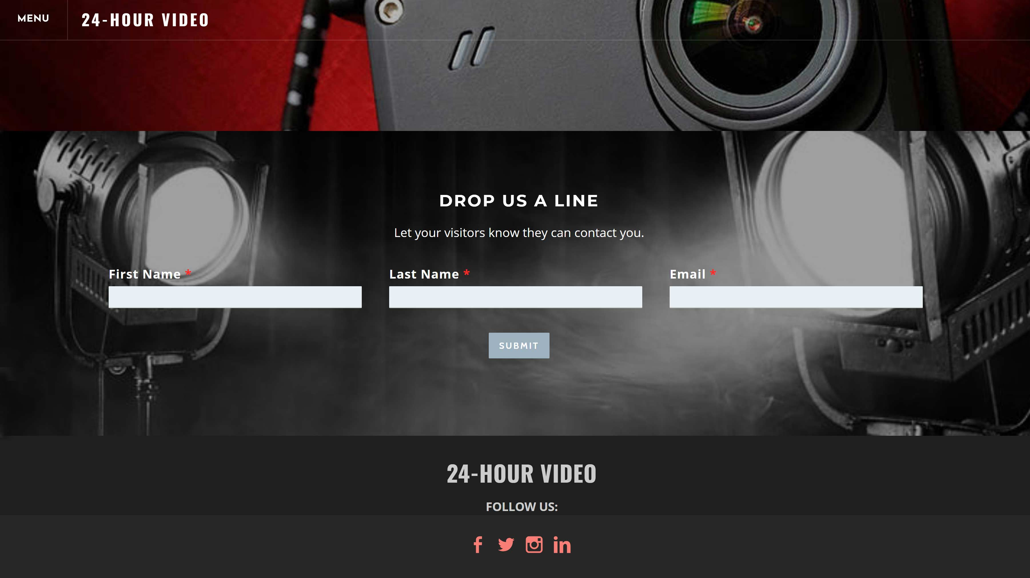 All-In-One Online Video Sales Website - 24 Hour Video Contact Us Page Example