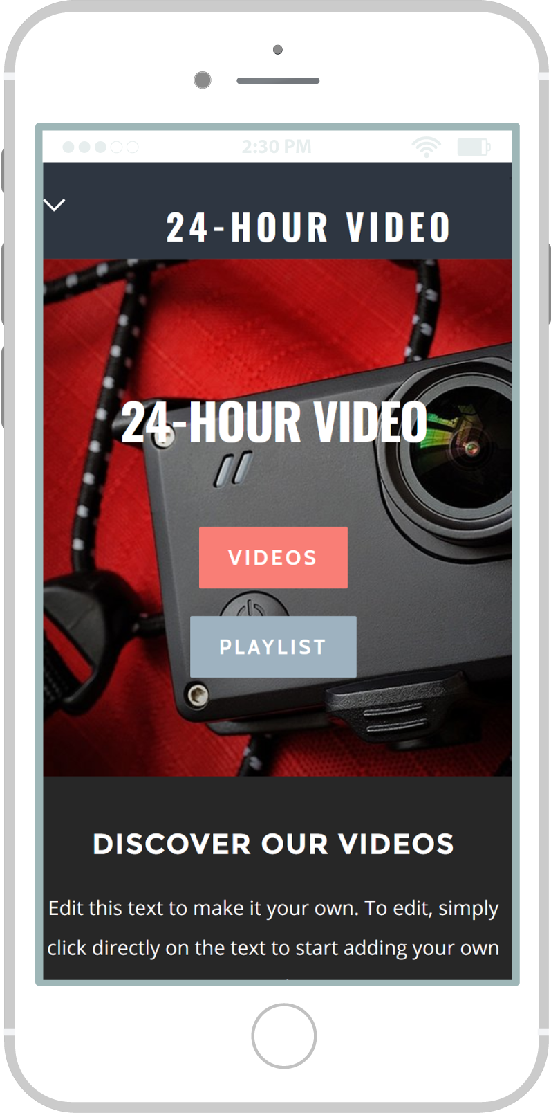 All-In-One Online Video Sales Website - 24 Hour Video Mobile View 1 Example