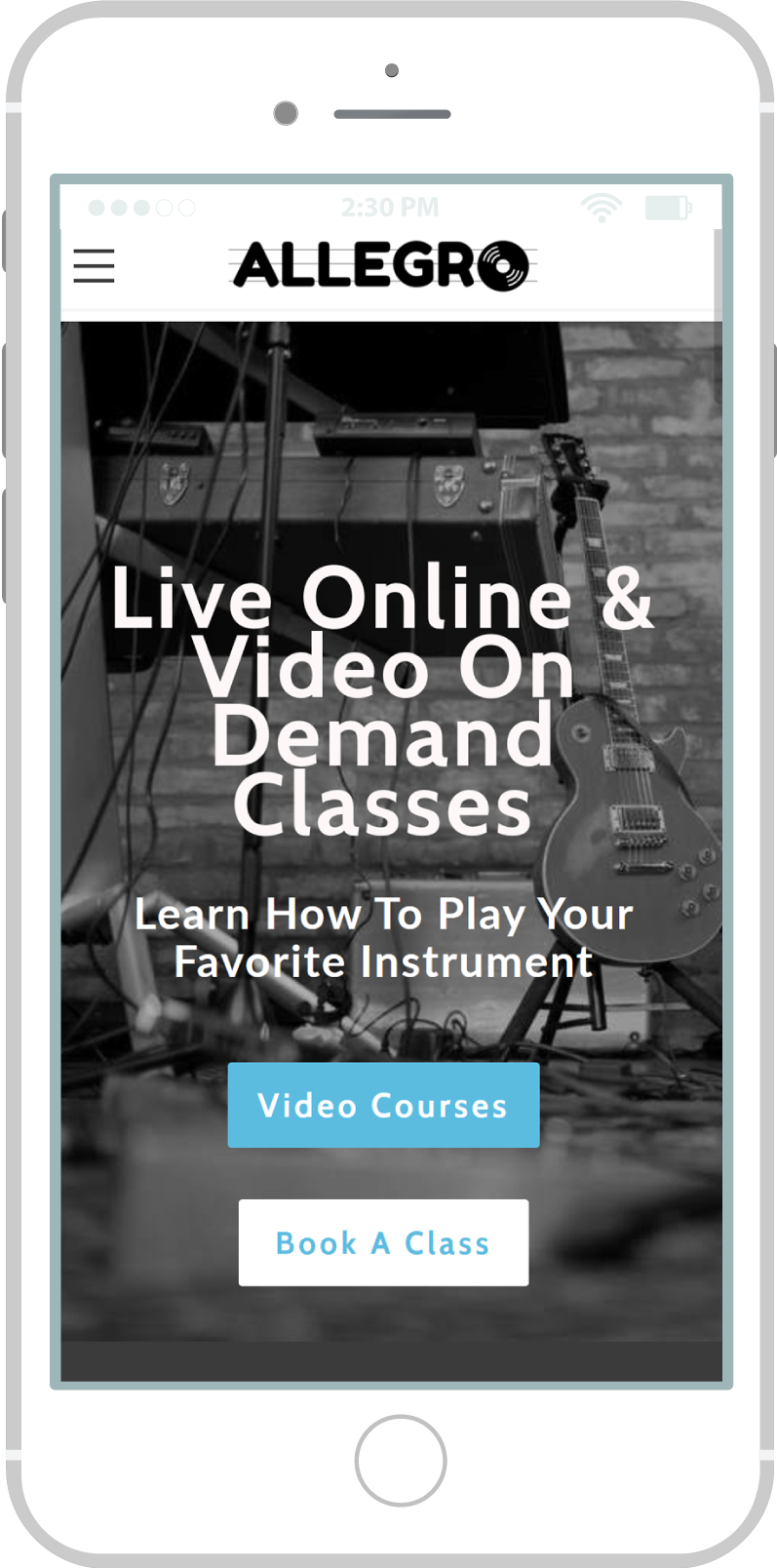 All-In-One Website To Sell Your Online Classes - Allegro Mobile View 1 Example