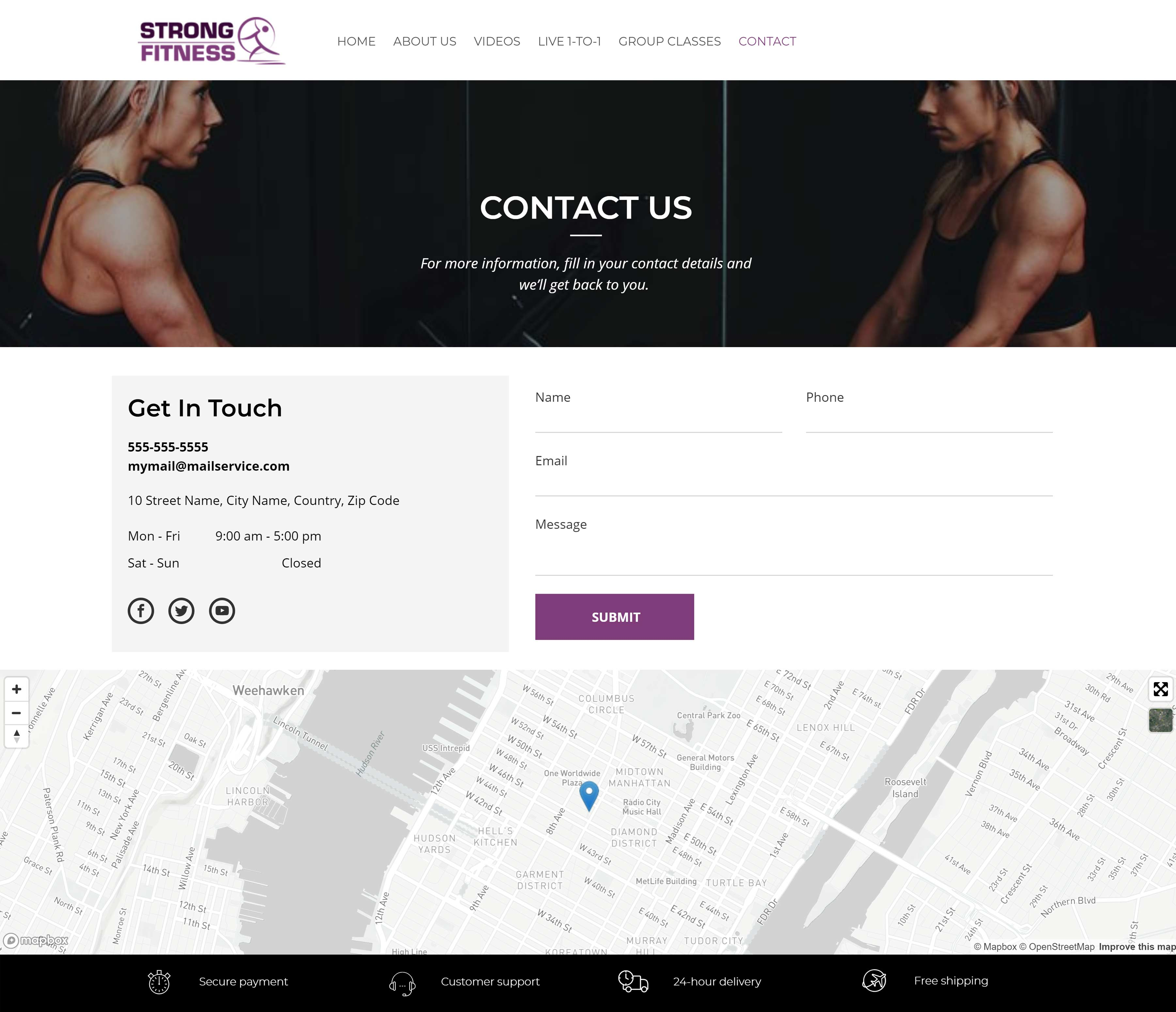 All-In-One Online Fitness Studio Website - Strong Fitness Contact Us Page Example