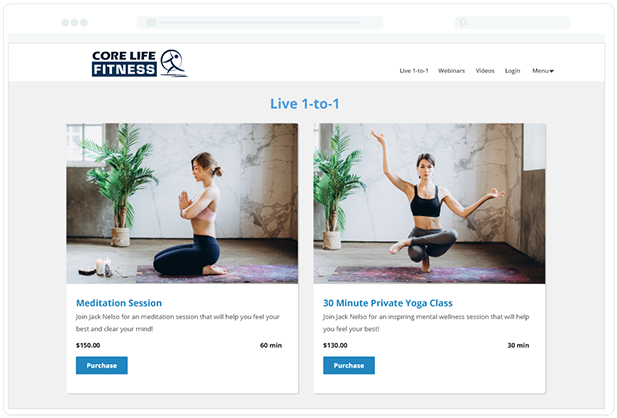 Fitness Live 1-to-1 Page