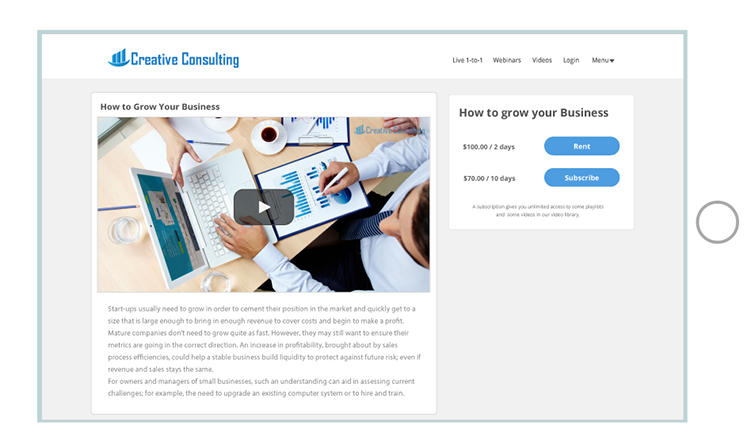 Consulting Video Page