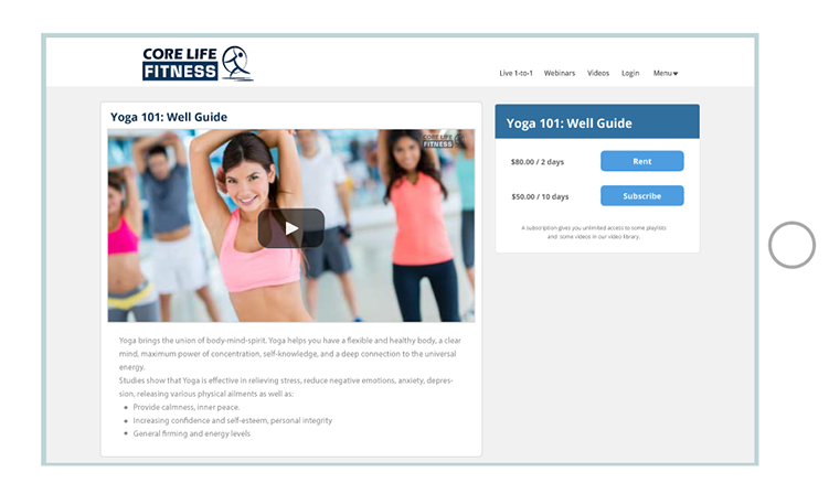 Fitness Video Page