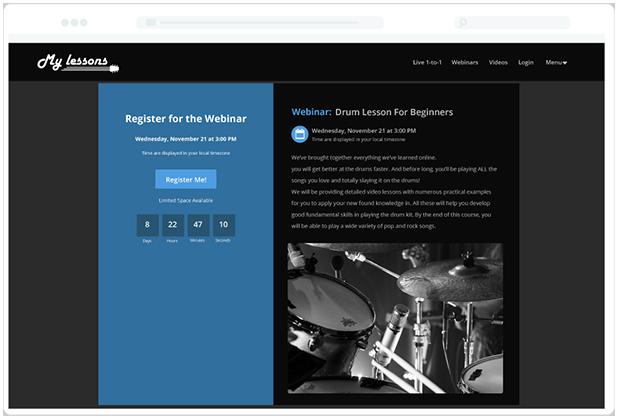 Teaching webinar Countdown Registration