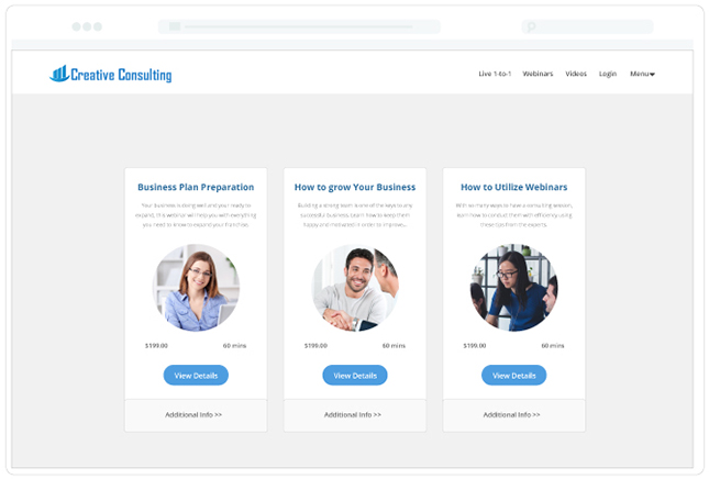 Consulting Template Live 1-to-1 page listings