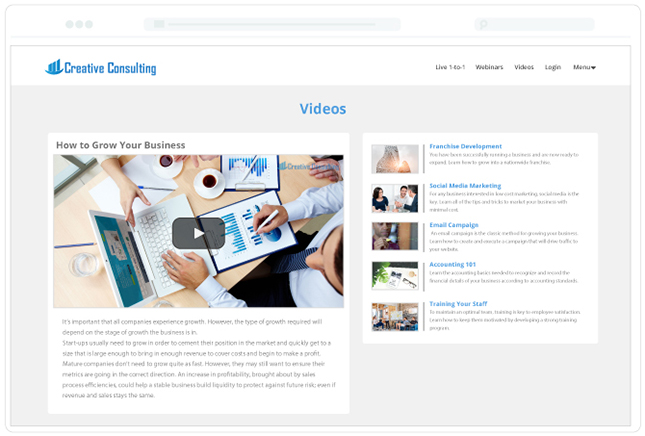 Consulting Template Video Page