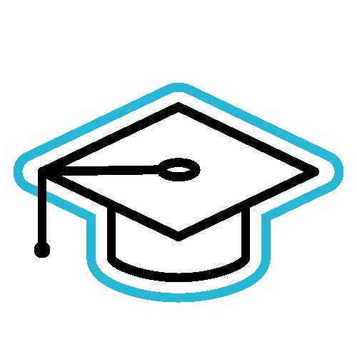 Graduation cap icon.