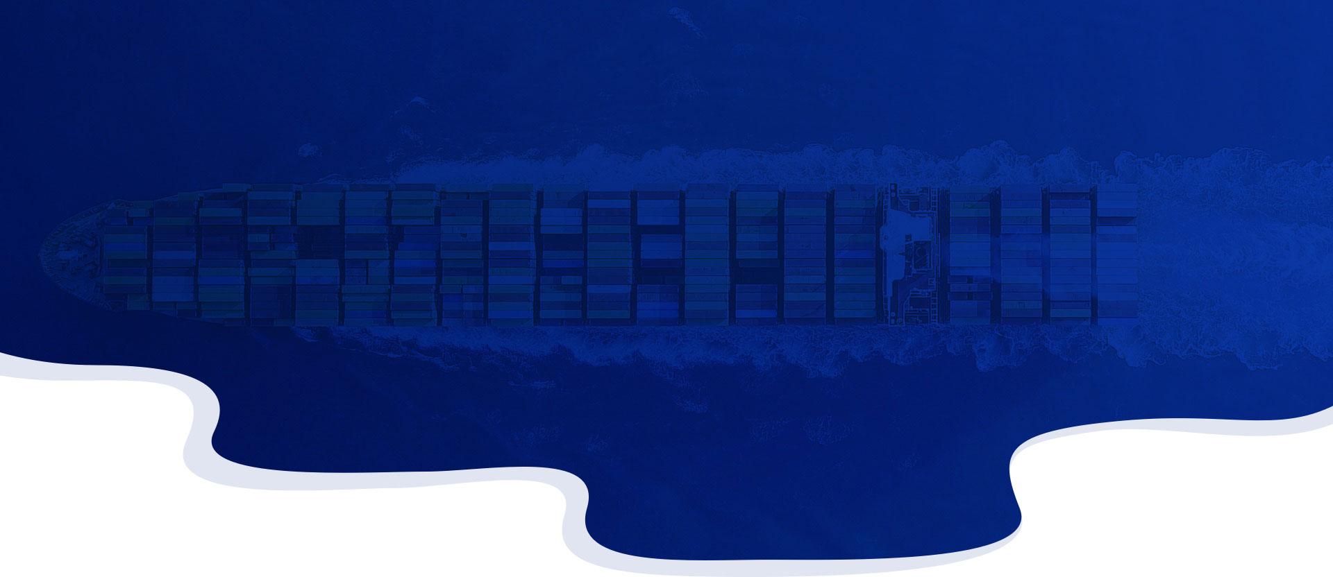 Top view of a cargo ship