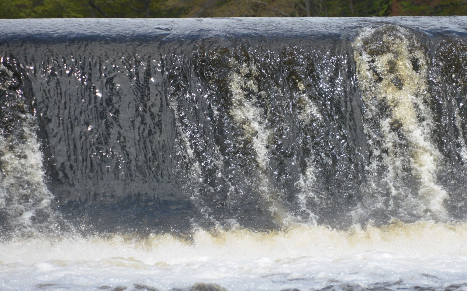 close-up of powerful waterfall