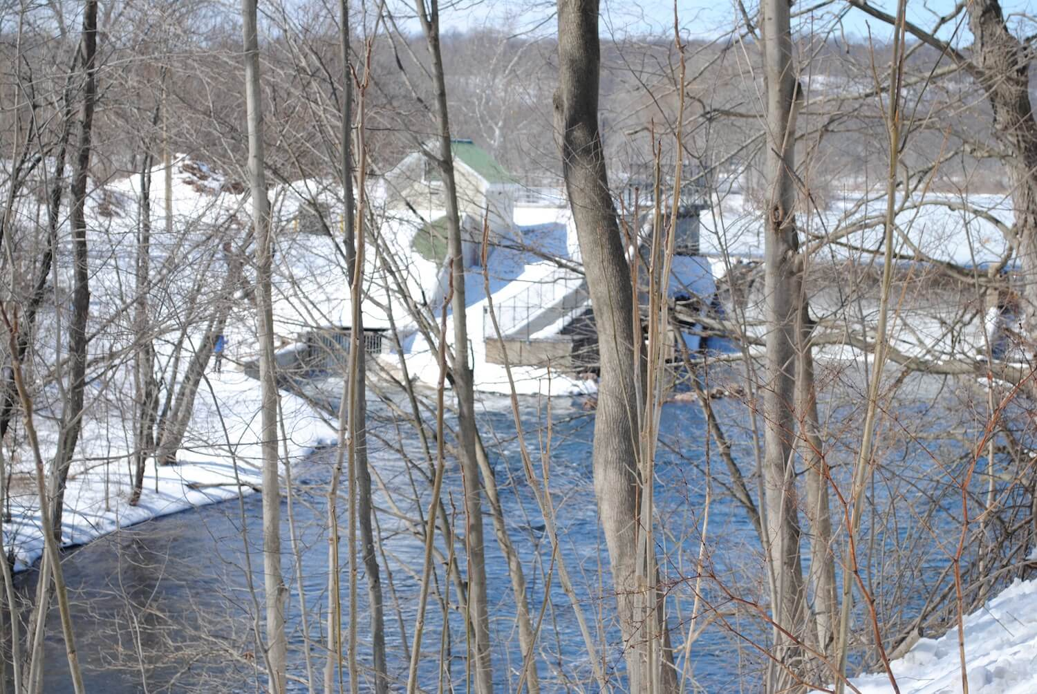Winter view of Hanover Pond Hydro Installation