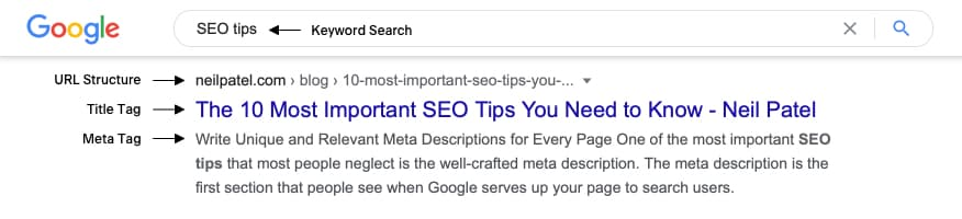 Search Engine Results Page with Title Tag, Meta Tag & URL Structure
