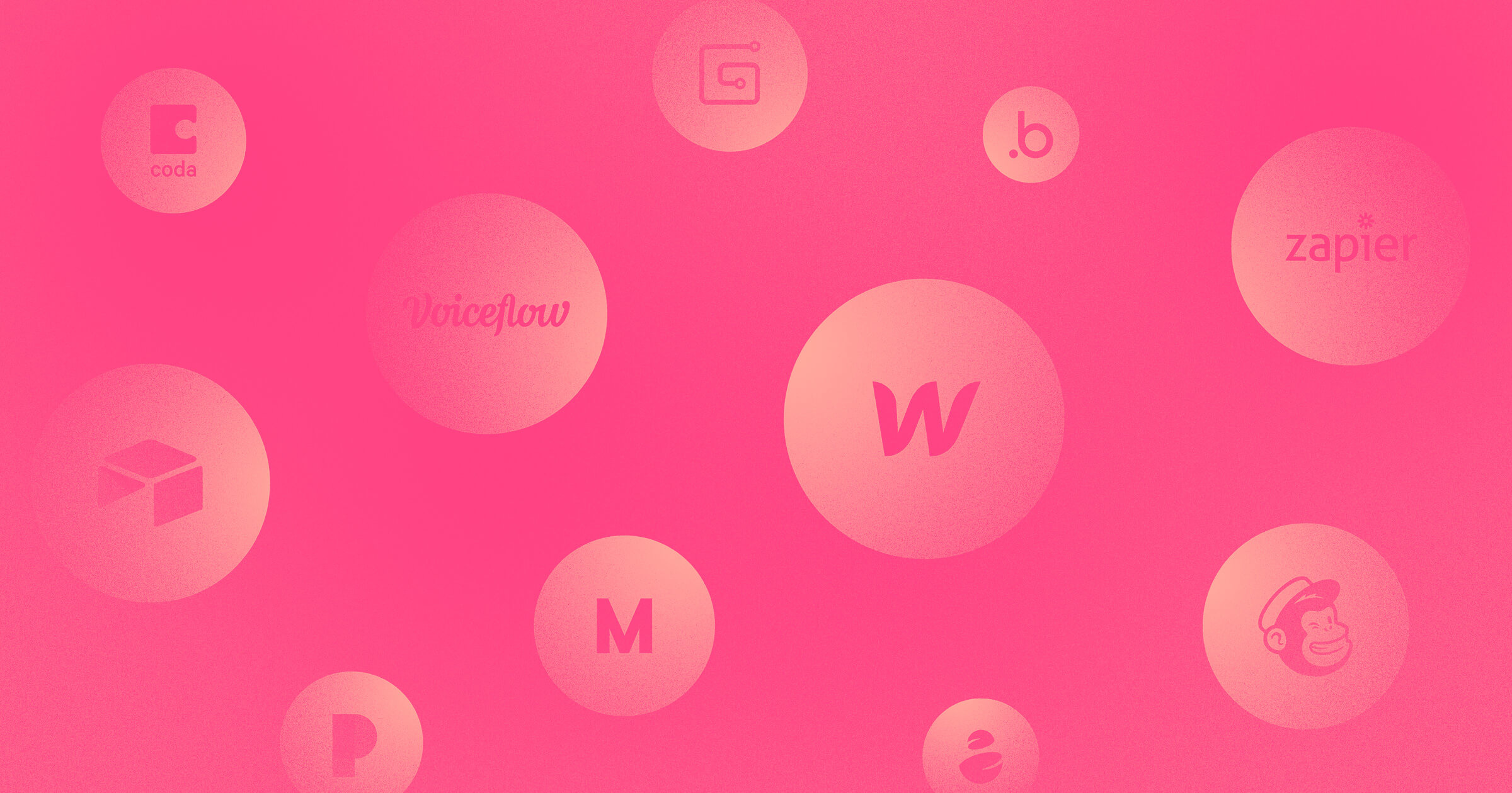A gradient magenta collage of no-code app logos like Webflow, Mailchimp, Voiceflow, Airtable, and Coda within floating circles.