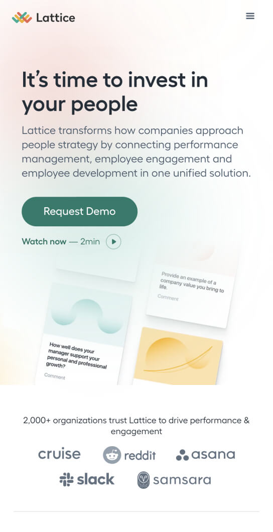 """Mobile size screenshot of the Lattice website with a tagline saying """"It's time to invest in your people"""""""