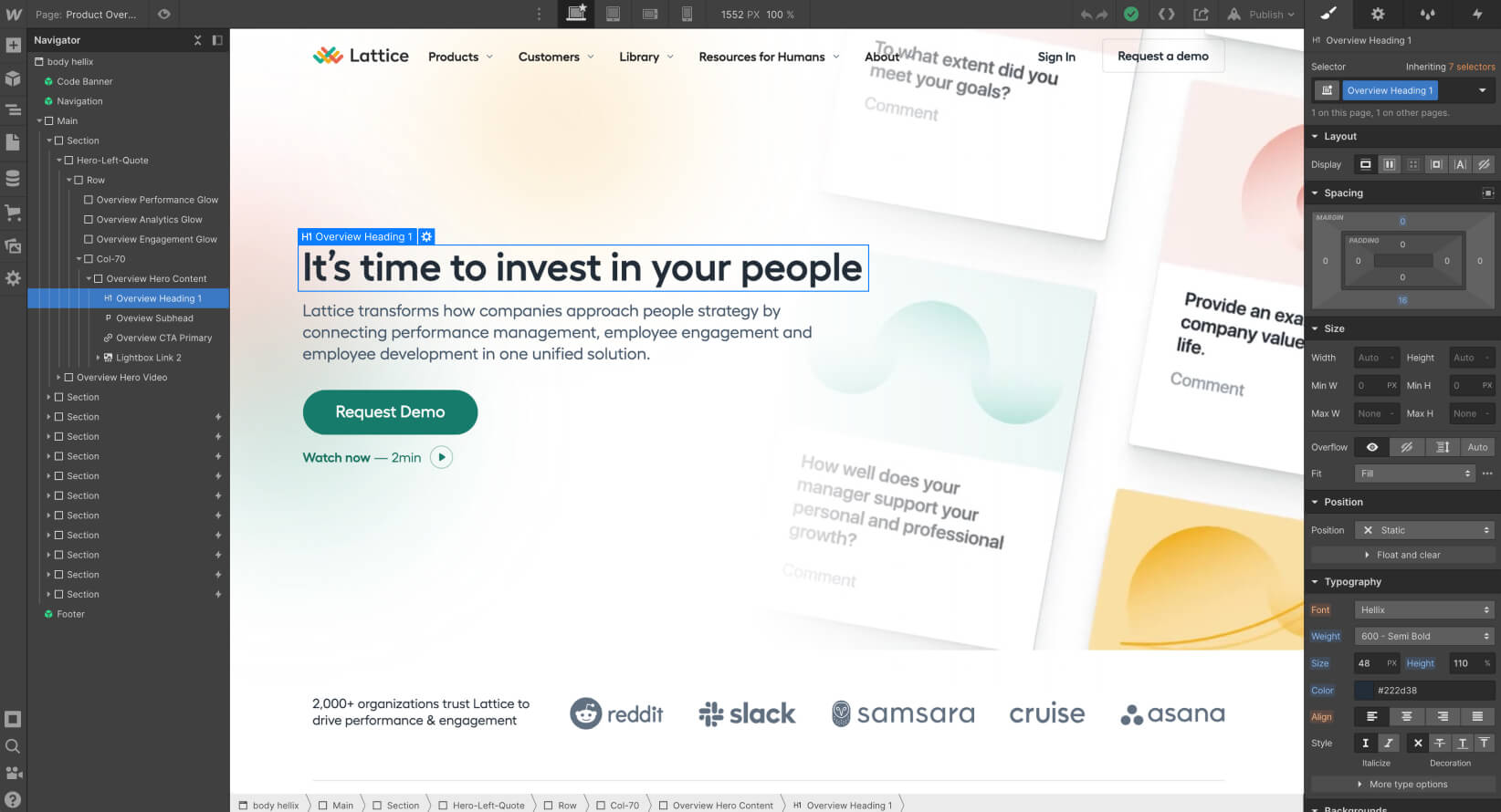 """Desktop size screenshot of the Lattice website within the Webflow Designer UI and select on a tagline saying """"It's time to invest in your people"""""""