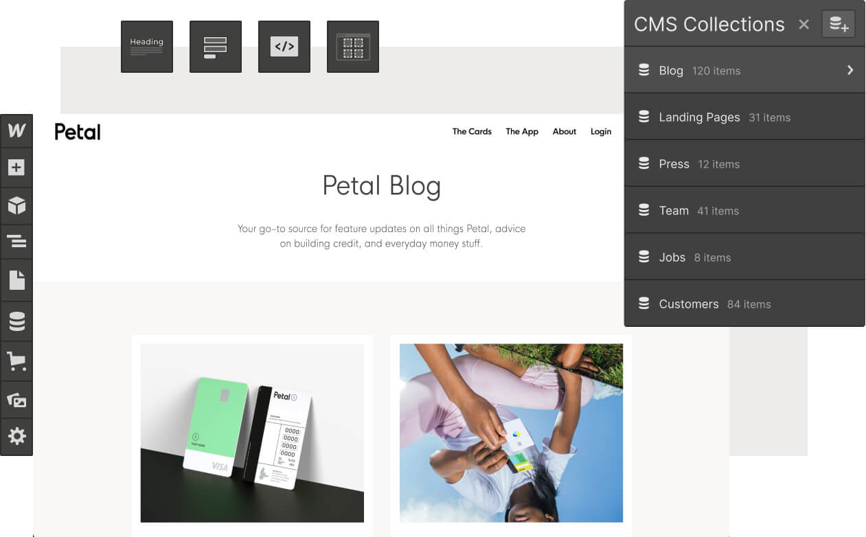 Collage of Webflow Designer UI elements like a list of CMS collections and the add panel toolbar, overlaid on top of a screenshot of the Petal Blog website.