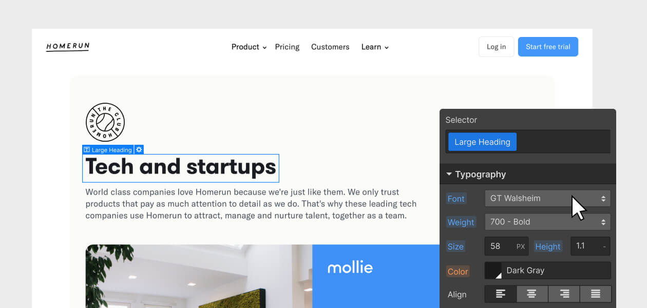 """Homerun screenshot with headline """"Tech and startups"""" selected from the Webflow Designer Typography panel UI"""