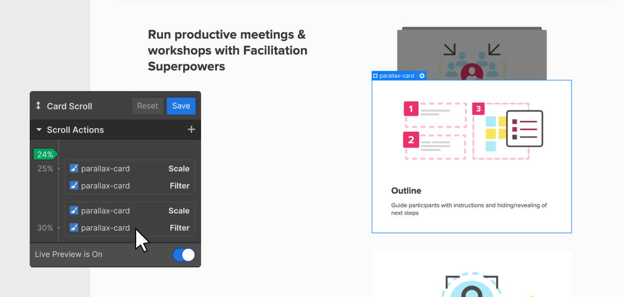 Mural screenshot with card selected from the Webflow Designer Interactions panel displayed
