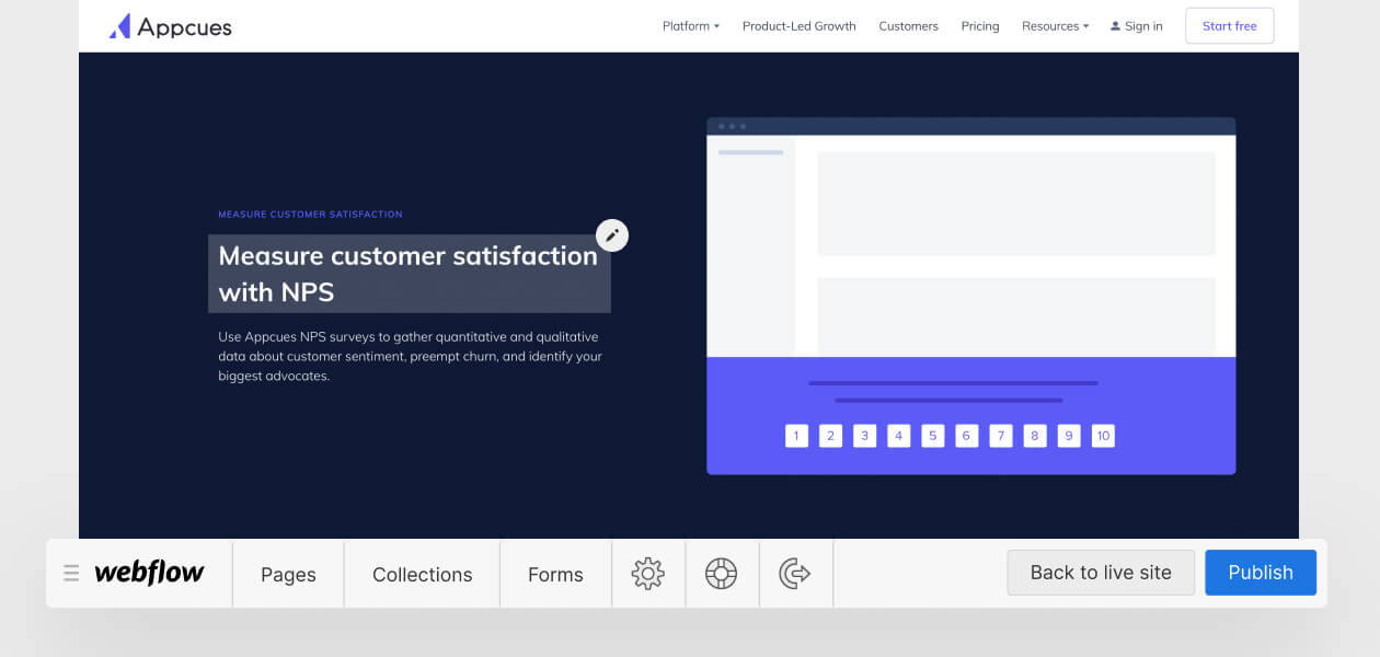 """A screenshot of the Appcues website with the headline """"Measure customer satisfaction with NPS"""" selected within the Webflow Editor UI and the Editor tab bar overlaid along the bottom."""
