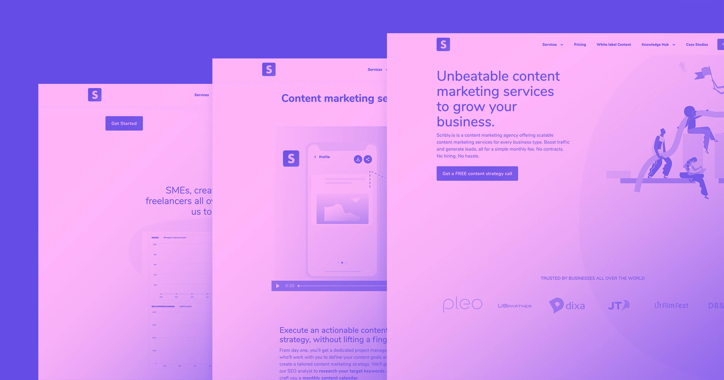 A purple background with three stacked screenshots of a website overlaid on top of and next to each other with a magenta color tone.