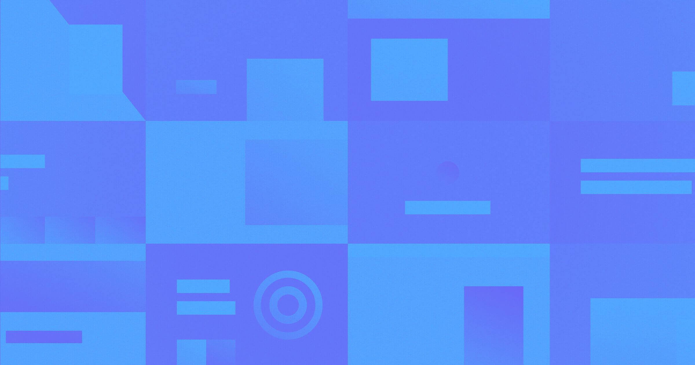 A deep blue and sky blue grid pattern of squares, rectangles, circles and shapes representing abstract elements of a website put together.