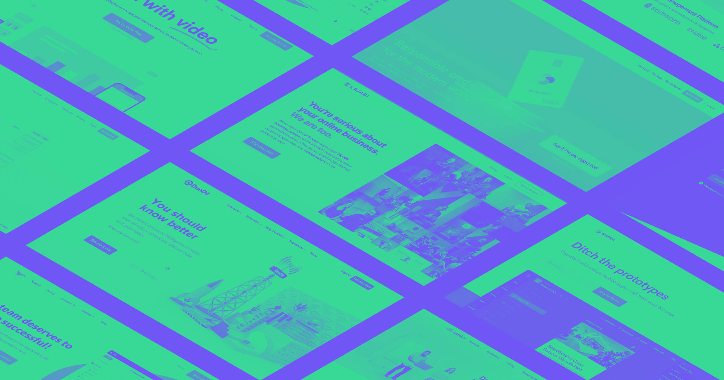 A green and purple gradient overlay of an isometric grid of home page screenshots from various SaaS websites that were build in Webflow.