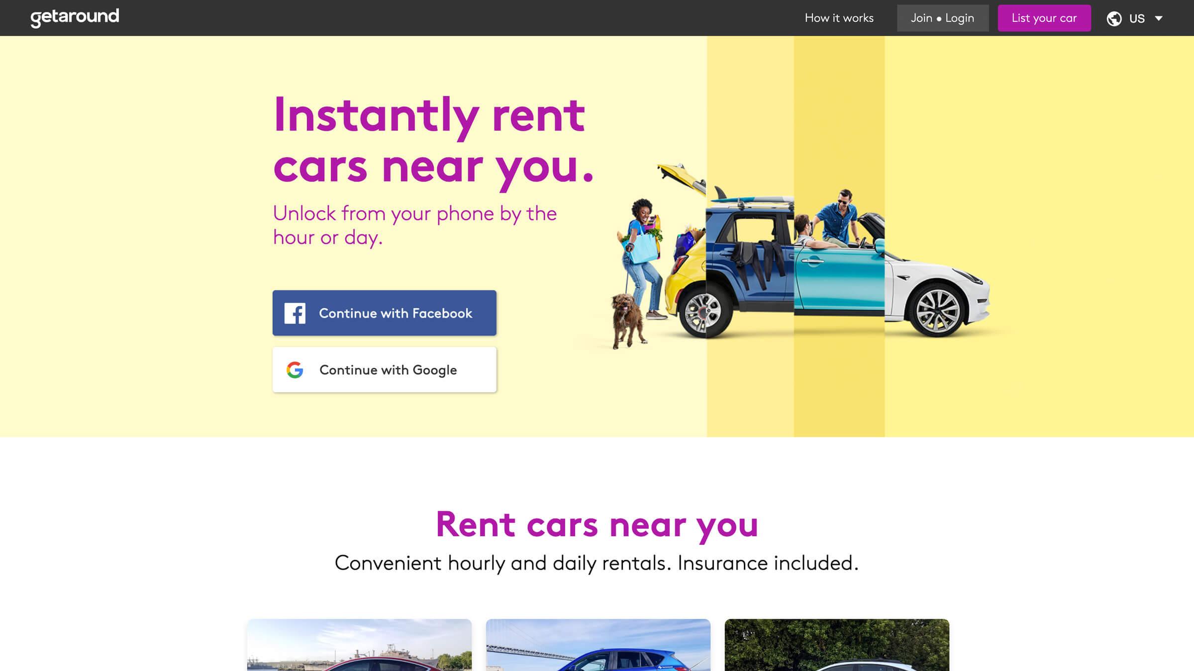 Getaround's home page