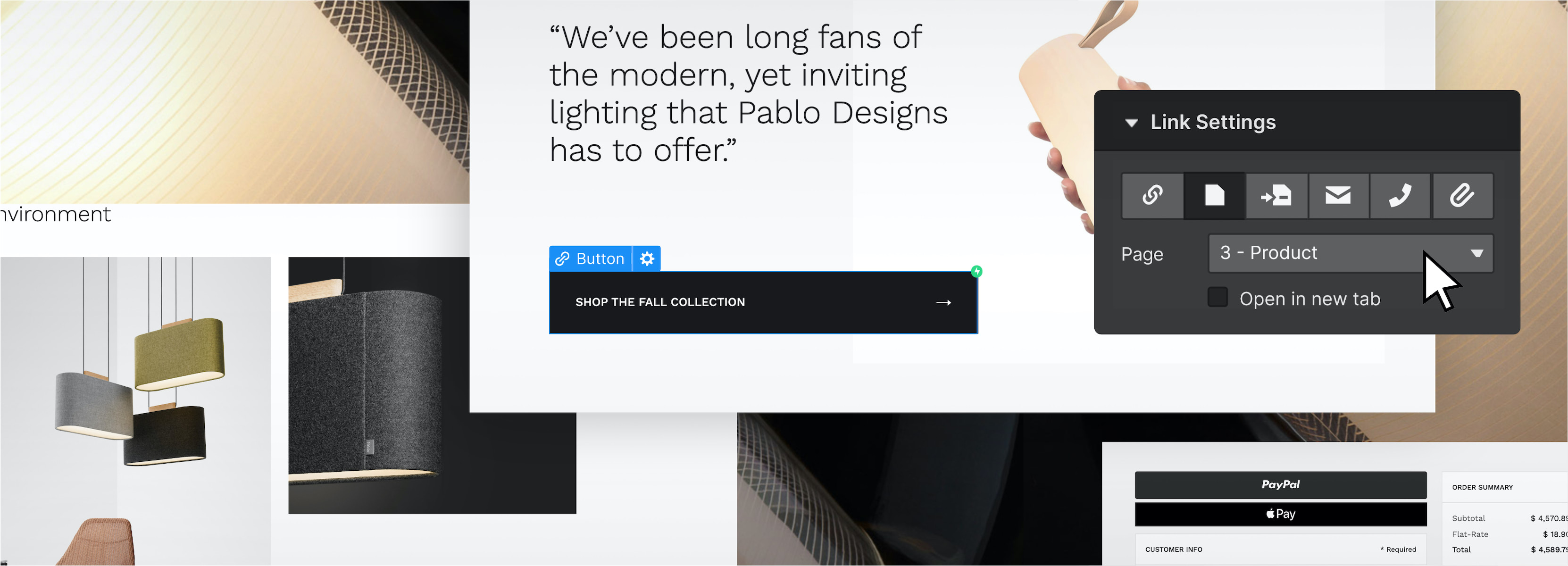 The link settings panel of the Webflow Designer UI shows that a link is opening a new page of a website. In the background, a button is highlighted on a website.
