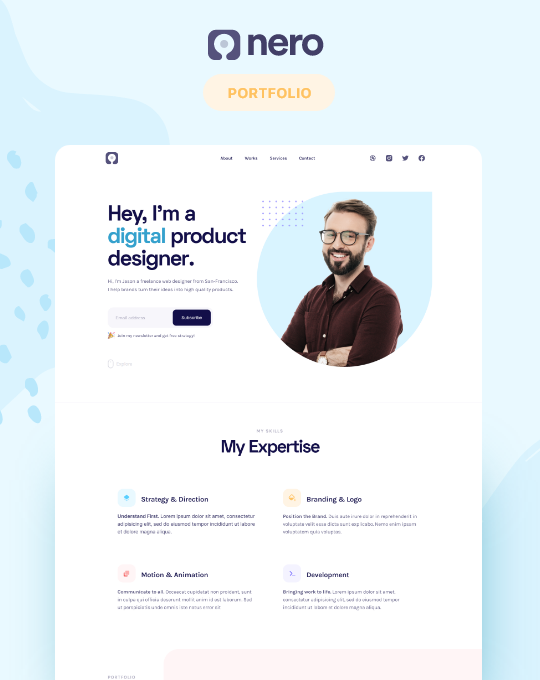 Nero is a clean template for those looking to build their online presence and win more clients.