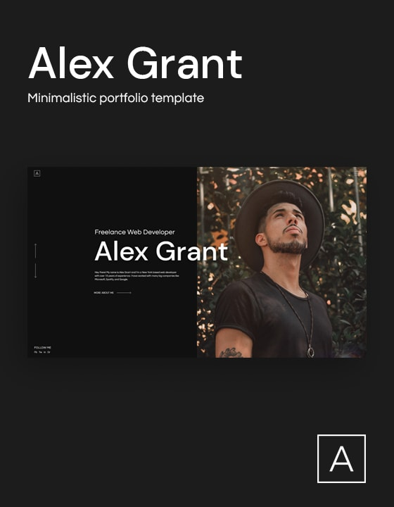 Alex is a dark-themed portfolio template for creatives, freelancers and agencies.