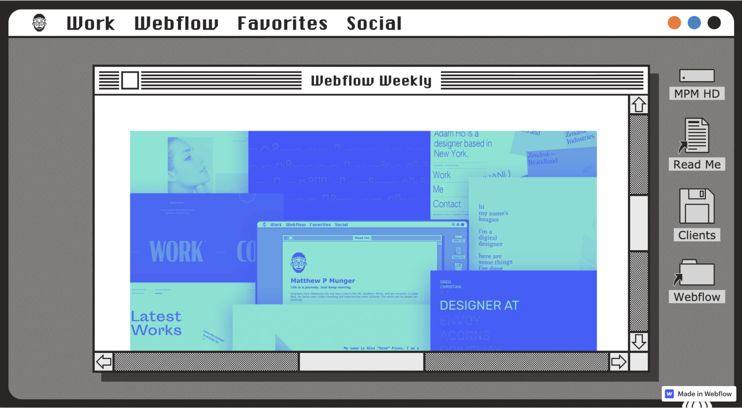 Matthew Munger's portfolio takes inspiration from the classic macOS interface, differentiating his portfolio from others.