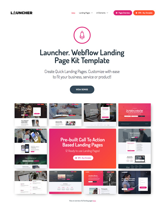 Launcher - Landing page Website Template