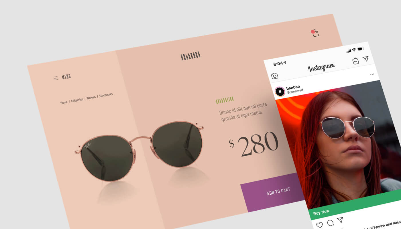 Instagram Post Selling Sunglasses overlaid on top of the same sunglass brands product page on their website