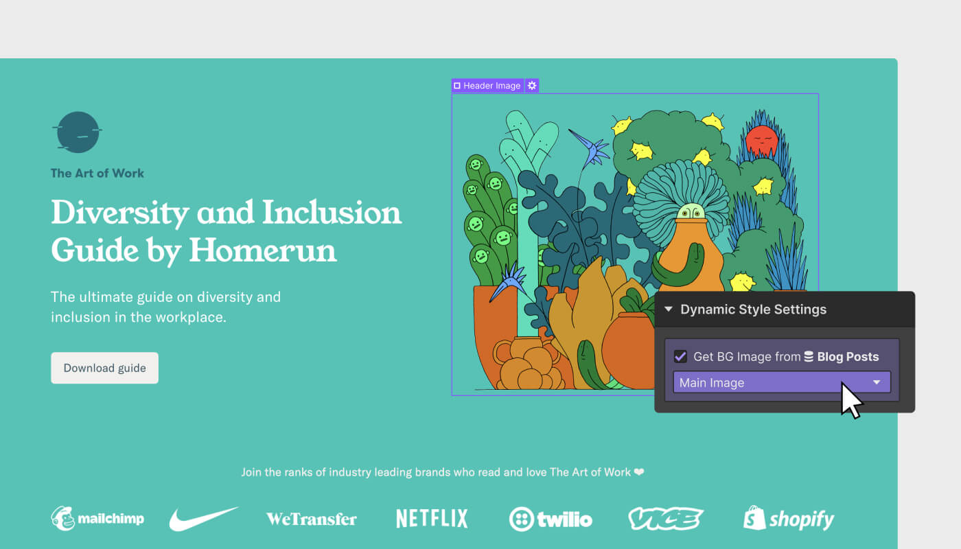 The Art of Work landing page for Diversity and Inclusion Guide by Homerun with an illustration selected with overlaid dynamic style settings Webflow UI