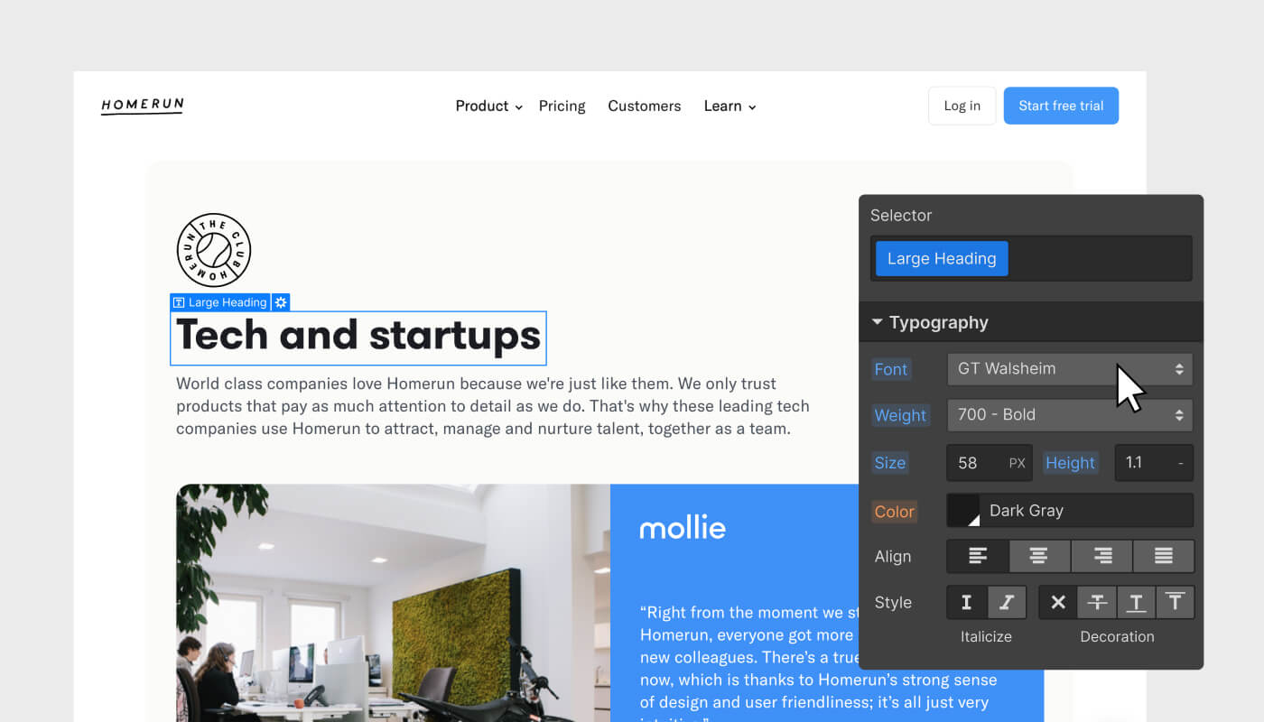 "Homerun landing page with ""Tech and startups"" title being selected from the Webflow Design UI with an overlaid typography settings panel"