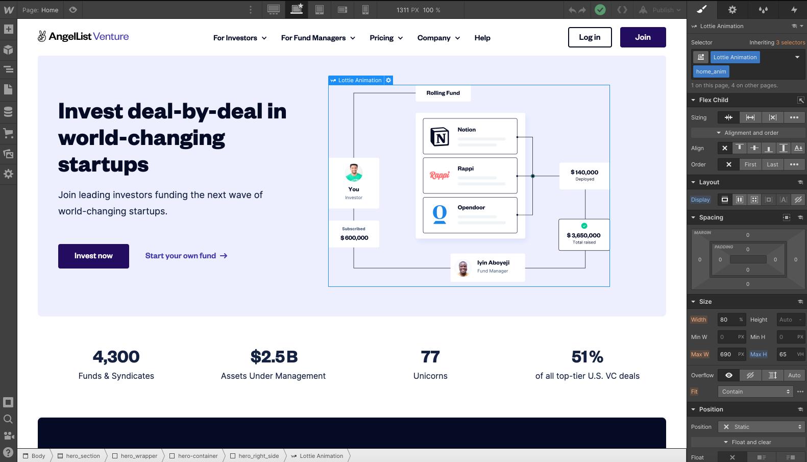 AngelList Venture Home Page within Webflow Designer Tool