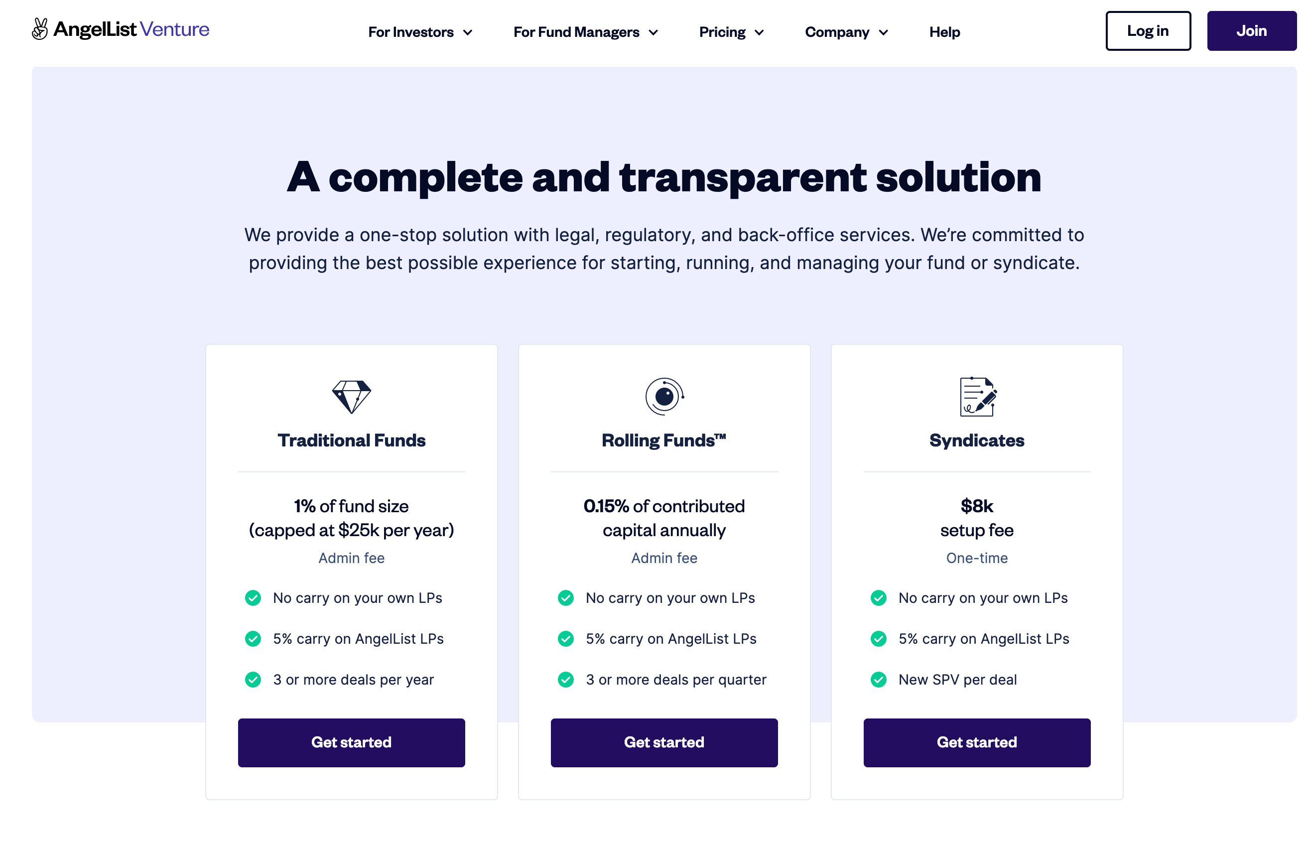 """AngelList Venture website screenshot of the pricing page and headline of """"A complete and transparent solution"""""""